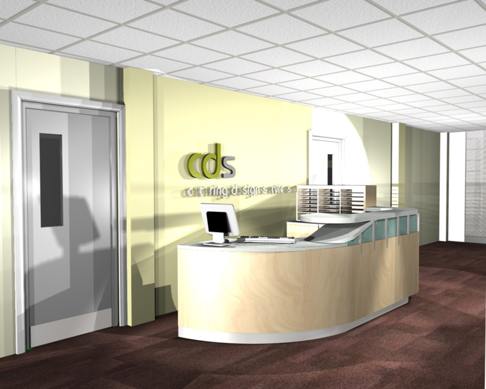 Cds office space stina willett for Office table 3d design